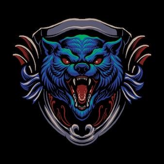 O desenho da ilustração da cabeça de lobo