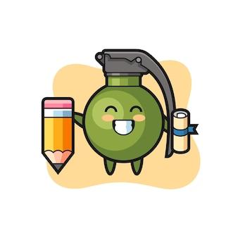 O desenho da ilustração da granada é a graduação com um lápis gigante, design de estilo fofo para camiseta, adesivo, elemento de logotipo