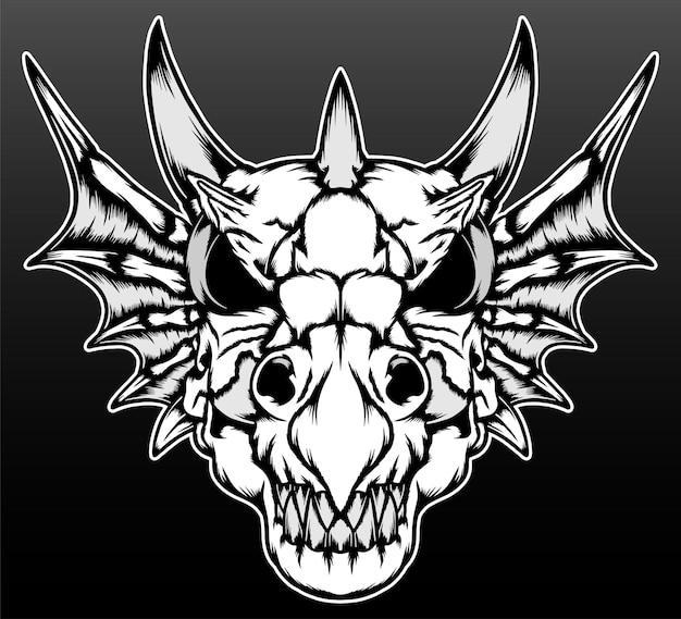 O desenho da ilustração desenhada à mão do crânio do dragão