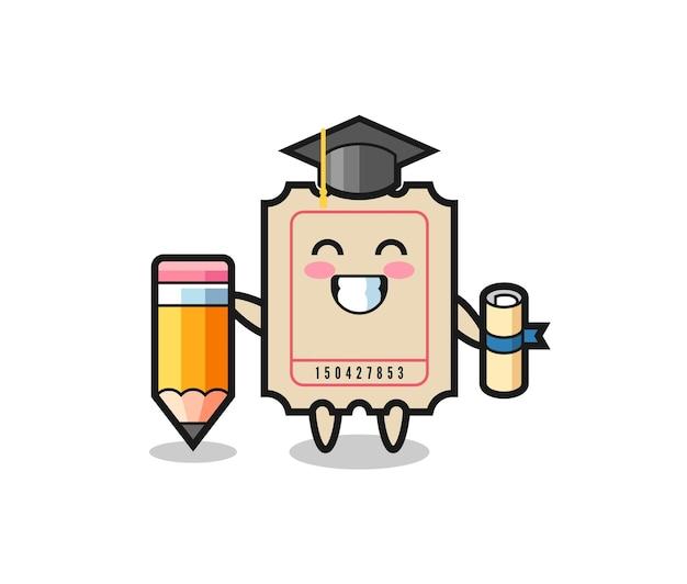O desenho da ilustração do bilhete é a formatura com um lápis gigante, design de estilo fofo para camiseta, adesivo, elemento de logotipo
