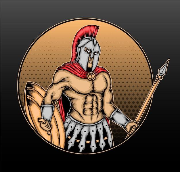 O desenho da ilustração do guerreiro gladiador