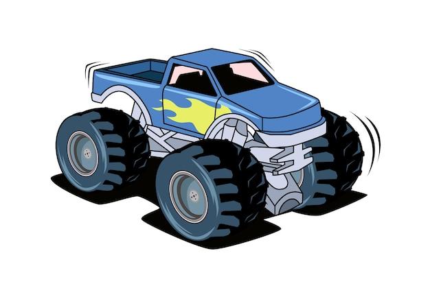 O desenho da mão da ilustração do caminhão grande azul