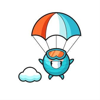 O desenho da mascote da bola de exercício está fazendo paraquedismo com um gesto feliz, design de estilo fofo para camiseta, adesivo, elemento de logotipo