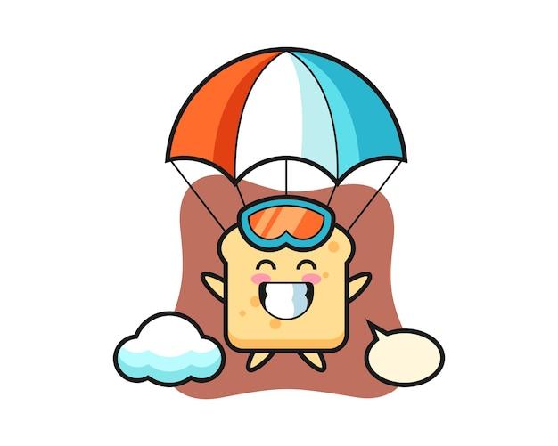 O desenho da mascote do pão está a saltar de pára-quedas com um gesto feliz