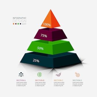 O desenho da pirâmide é usado para apresentar seu trabalho e exibi-lo como uma porcentagem. infográfico.