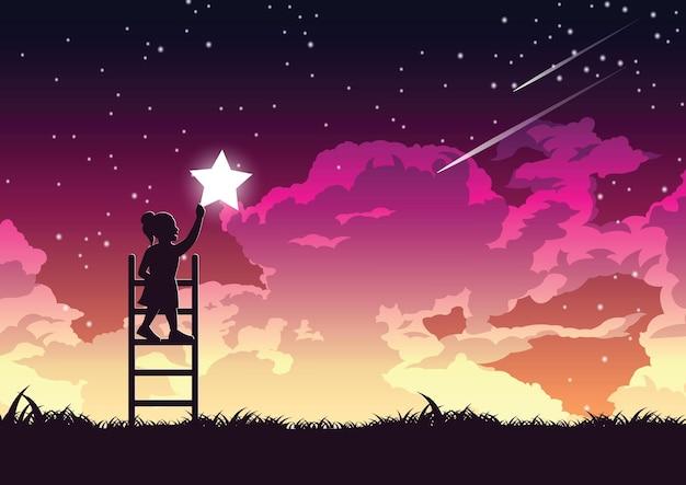 O desenho da silhueta da menina está na escada para manter a ilustração das estrelas