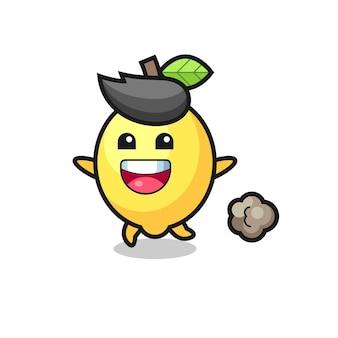 O desenho de limão feliz com pose de corrida, design de estilo fofo para camiseta, adesivo, elemento de logotipo