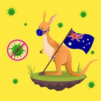 O desenho de um canguru fofo celebra o dia da austrália com o símbolo de parada do vírus covid-19 usando uma máscara