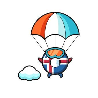 O desenho do mascote da bandeira da islândia está fazendo um salto de pára-quedas com um gesto feliz e um design fofo