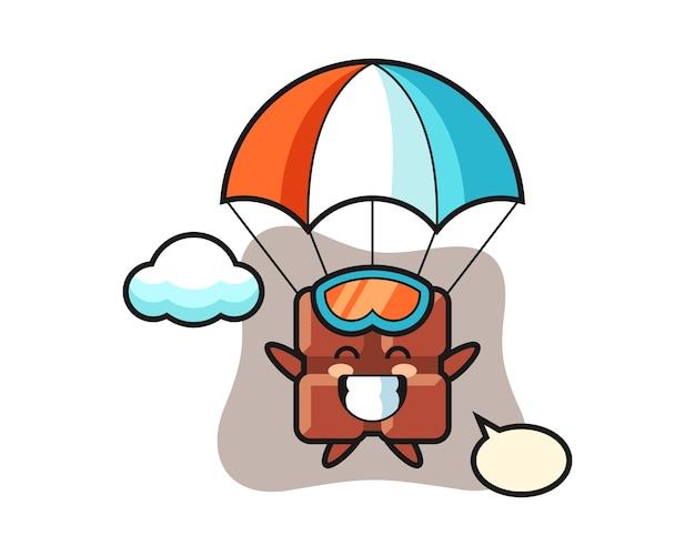 O desenho do mascote da barra de chocolate está fazendo um salto de pára-quedas com um gesto feliz, no estilo fofo kawaii.