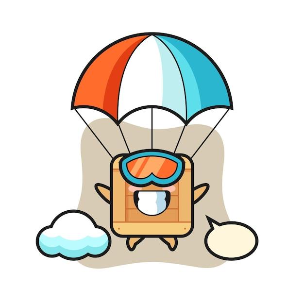 O desenho do mascote da caixa de madeira está fazendo pára-quedismo com um gesto feliz, design de estilo fofo para camiseta, adesivo, elemento de logotipo
