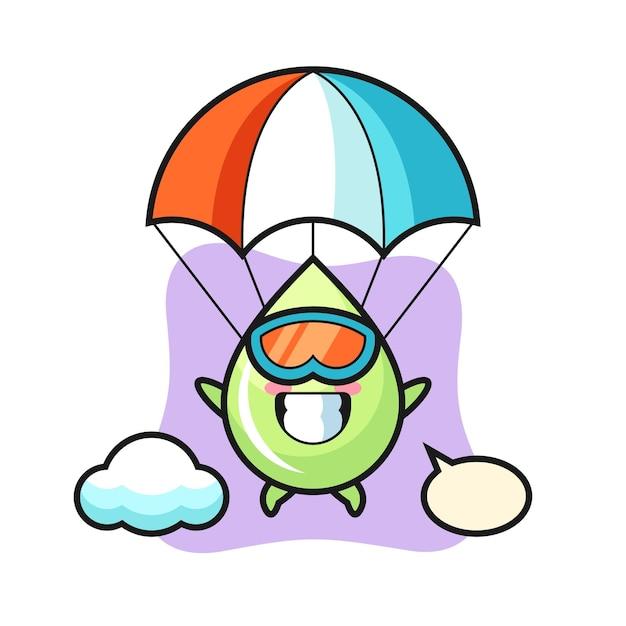 O desenho do mascote da gota de suco de melão está fazendo um salto de pára-quedas com um gesto feliz, um design de estilo fofo para uma camiseta, adesivo, elemento de logotipo