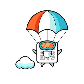 O desenho do mascote do código qr está saltando de pára-quedas com um gesto feliz e um design fofo