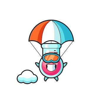 O desenho do mascote do copo de laboratório está fazendo um salto de pára-quedas com um gesto feliz, um design de estilo fofo para uma camiseta, adesivo, elemento de logotipo