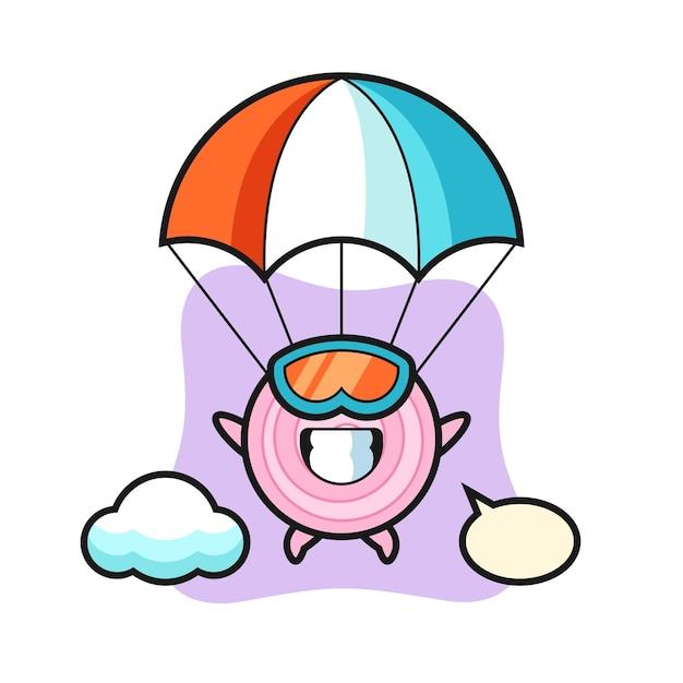 O desenho do mascote dos anéis de cebola está fazendo um salto de pára-quedas com um gesto feliz, um design de estilo fofo para uma camiseta, adesivo, elemento de logotipo