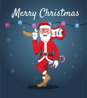 O desenho do papai noel carregando um violão para celebrar o natal