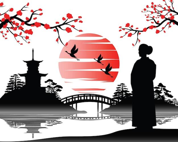 O desenho japonês de uma mulher de quimono olha para o pagode