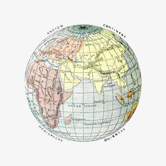 O desenho vintage de globo