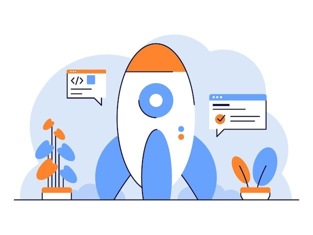 O desenvolvedor de startups de ilustração começa o desenvolvimento de foguetes definindo estilo de design de contorno plano