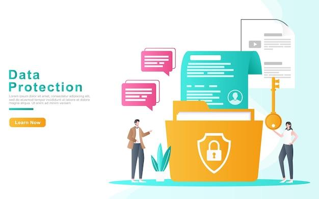 O desenvolvedor protege os dados dos arquivos da empresa com segurança e periodicamente o conceito de ilustração.
