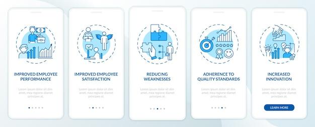 O desenvolvimento da equipe beneficia a tela da página do aplicativo móvel com conceitos