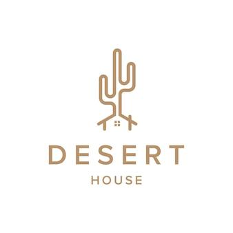 O deserto e a casa esboçam um logotipo simples e elegante, criativo, geométrico e moderno