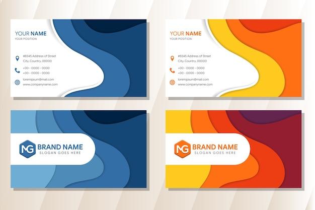 O design abstrato do modelo do cartão de visita com layout horizontal e o estilo da onda do mosaico usam as cores azuis e amarelas. fundo branco.