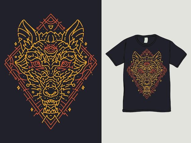 O design da camisa do lobo dourado