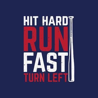 O design da camiseta bateu forte e rápido com taco de beisebol e ilustração vintage com fundo azul