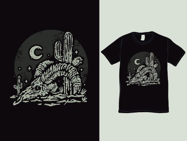 O design da camiseta com o crânio de veado no deserto ocidental