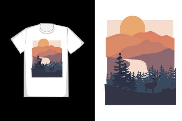 O design da camiseta do himalaia é laranja escuro