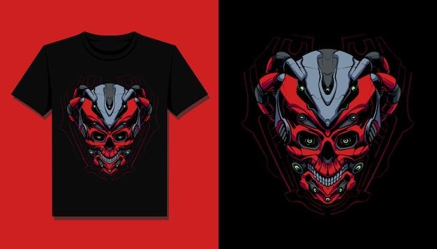 O design da camiseta do robô vermelho