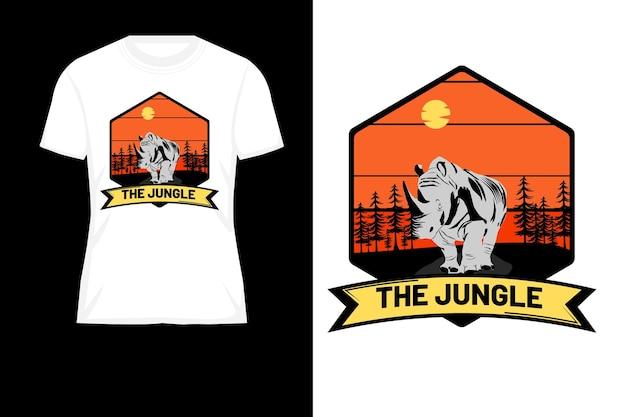 O design da camiseta retrô da silhueta da selva