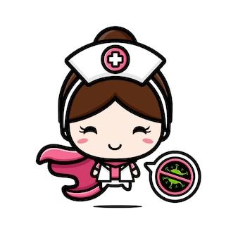 O design da enfermeira é um herói com um símbolo de parada de vírus