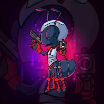 O design da ilustração do mascote e da formiga do atirador legal