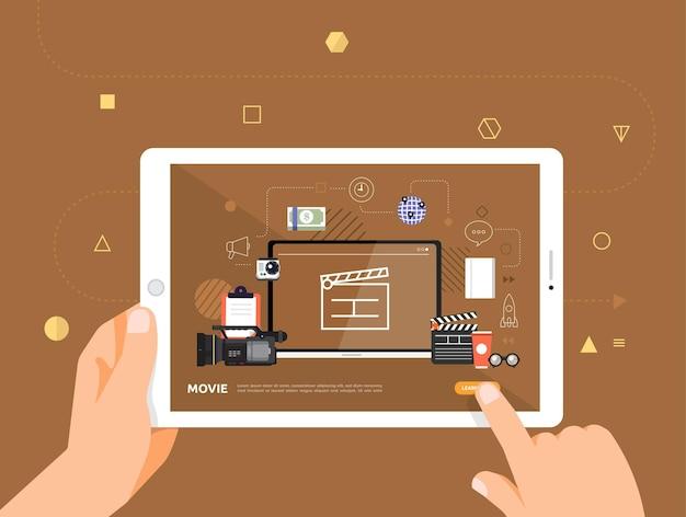 O design das ilustrações concpt e-learning com clique da mão no filme do curso on-line do tablet