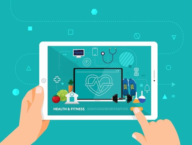 O design das ilustrações concpt e-learning com clique da mão no tablet curso on-line de saúde e fitness