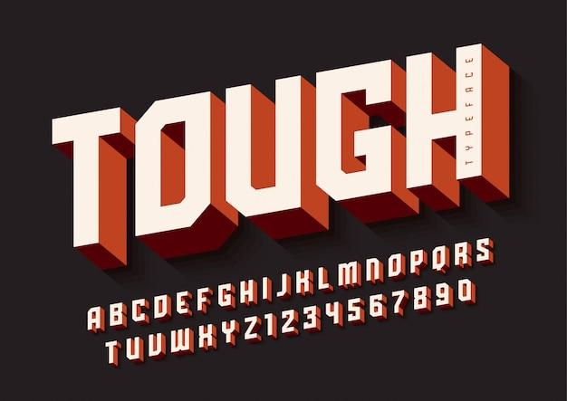 O design de fonte de exibição em negrito resistente, alfabeto, tipo de letra, letras