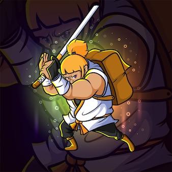 O design de ilustração do gigante guerreiro esport mascote