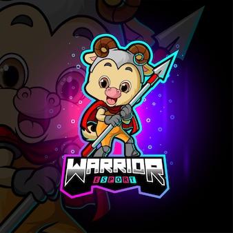 O design de ilustração do logotipo bonito da ovelha guerreira esport