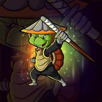 O design de ilustração do logotipo da tartaruga ninja esport