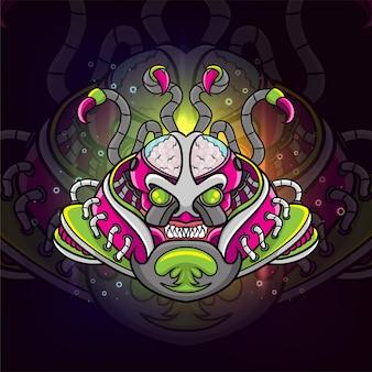 O design de ilustração do logotipo do steam punk esport colorido alienígena