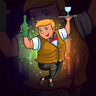 O design de ilustração do mascote cool dos garçons