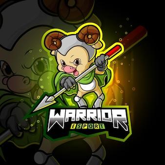 O design de ilustração do mascote guerreiro ovelha esport