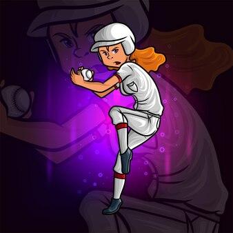 O design de ilustração do mascote profissional do arremessador de beisebol