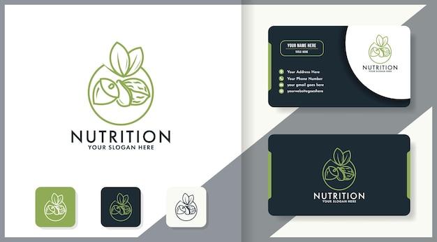 O design de logotipo simples de nozes usa arte de linha e cartão de visita