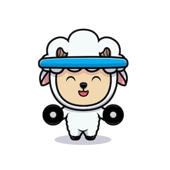 O design de ovelhas fofas está se exercitando para ganhar músculos