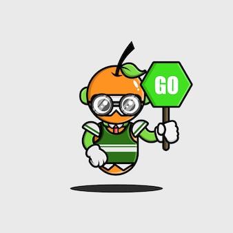O design de personagem laranja do aluno