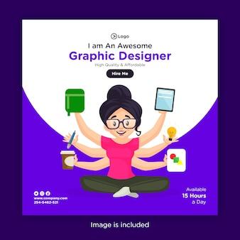 O design do banner da designer gráfica feminina é com várias mãos e equipamentos