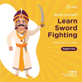 O design do banner de construir você mesmo aprenda a luta com espada modelo de estilo de desenho animado